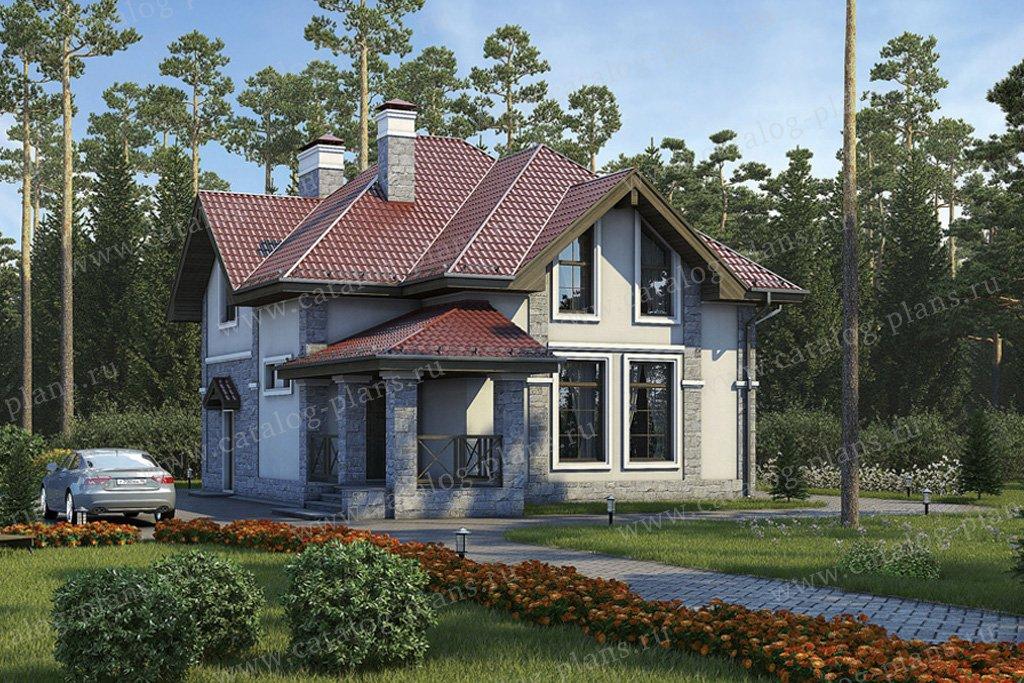 Проект жилой дом #57-16K материал - кирпич, стиль европейский