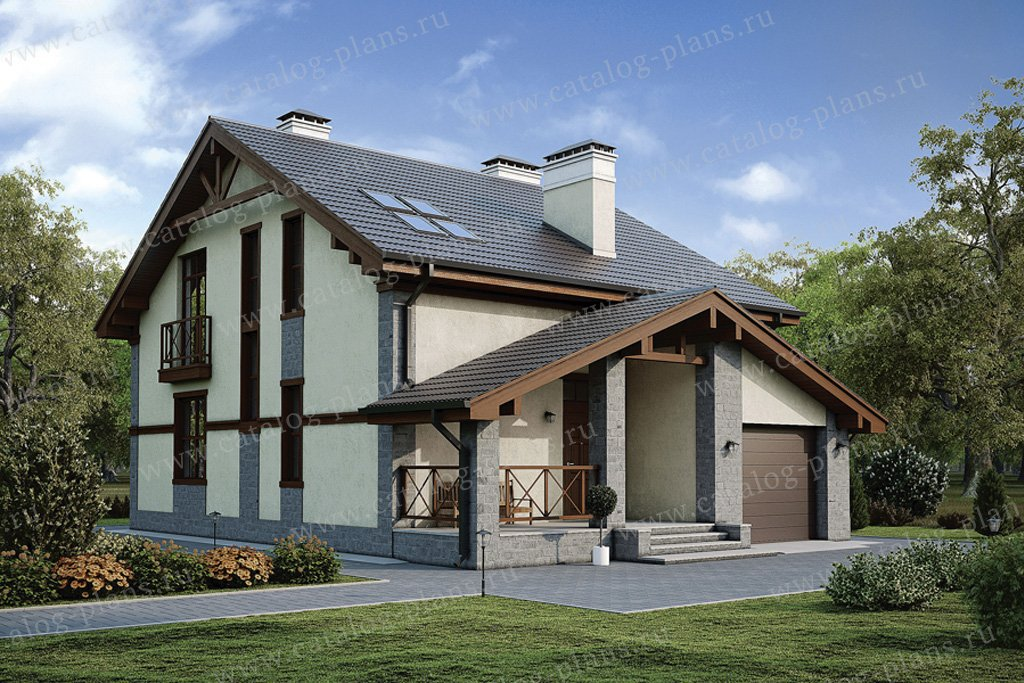 Проект жилой дом #57-09K материал - кирпич, стиль скандинавский