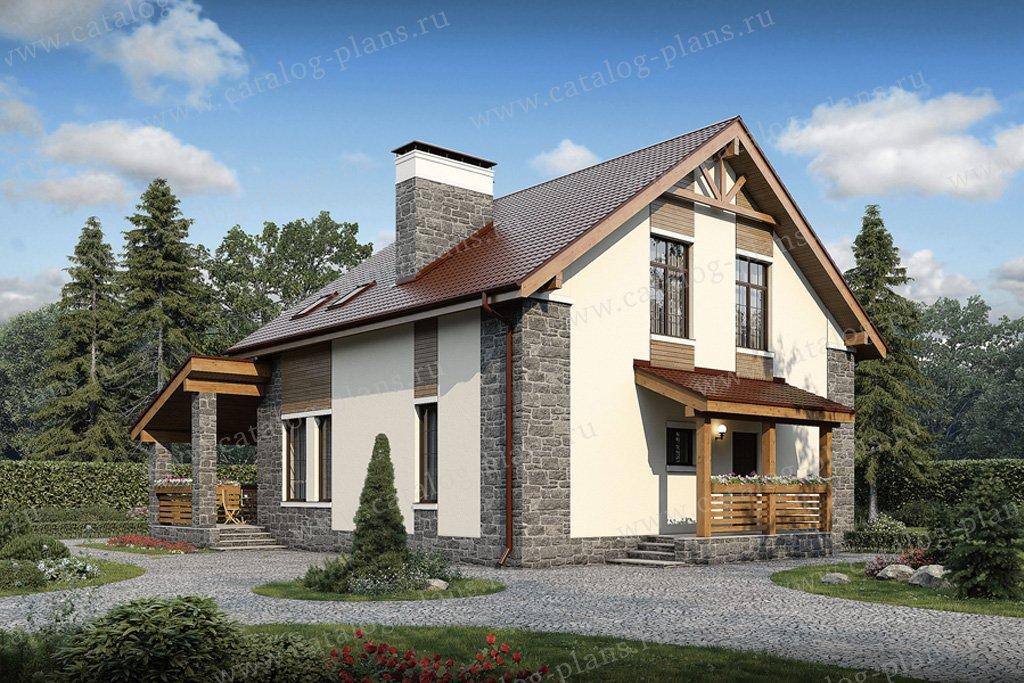Проект жилой дом #57-11K материал - кирпич, стиль европейский