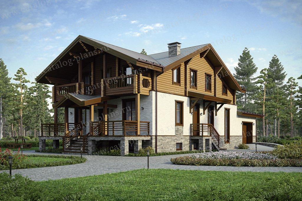 Проект жилой дом #80-13 материал - комбинированный, стиль шале