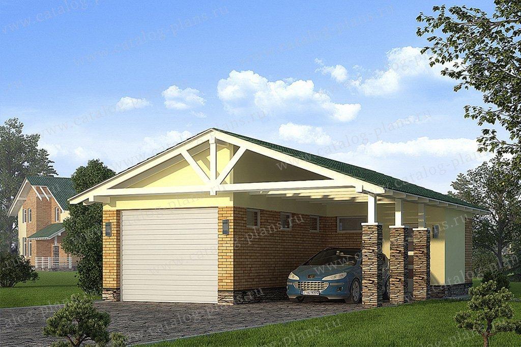 Проект гараж #70-35 материал - газобетон, стиль скандинавский