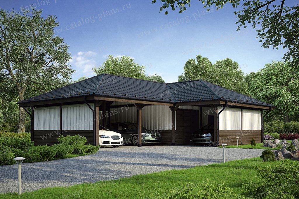 Проект гараж #70-51 материал - дерево, стиль европейский