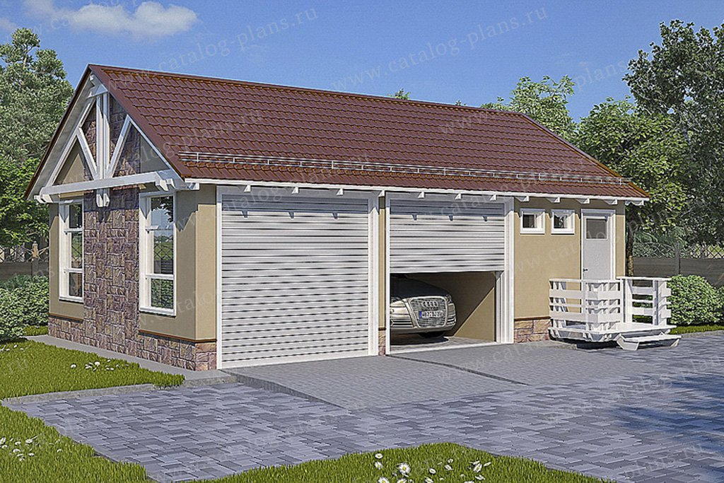 Проект гараж #70-33 материал - каркас, стиль норвежский