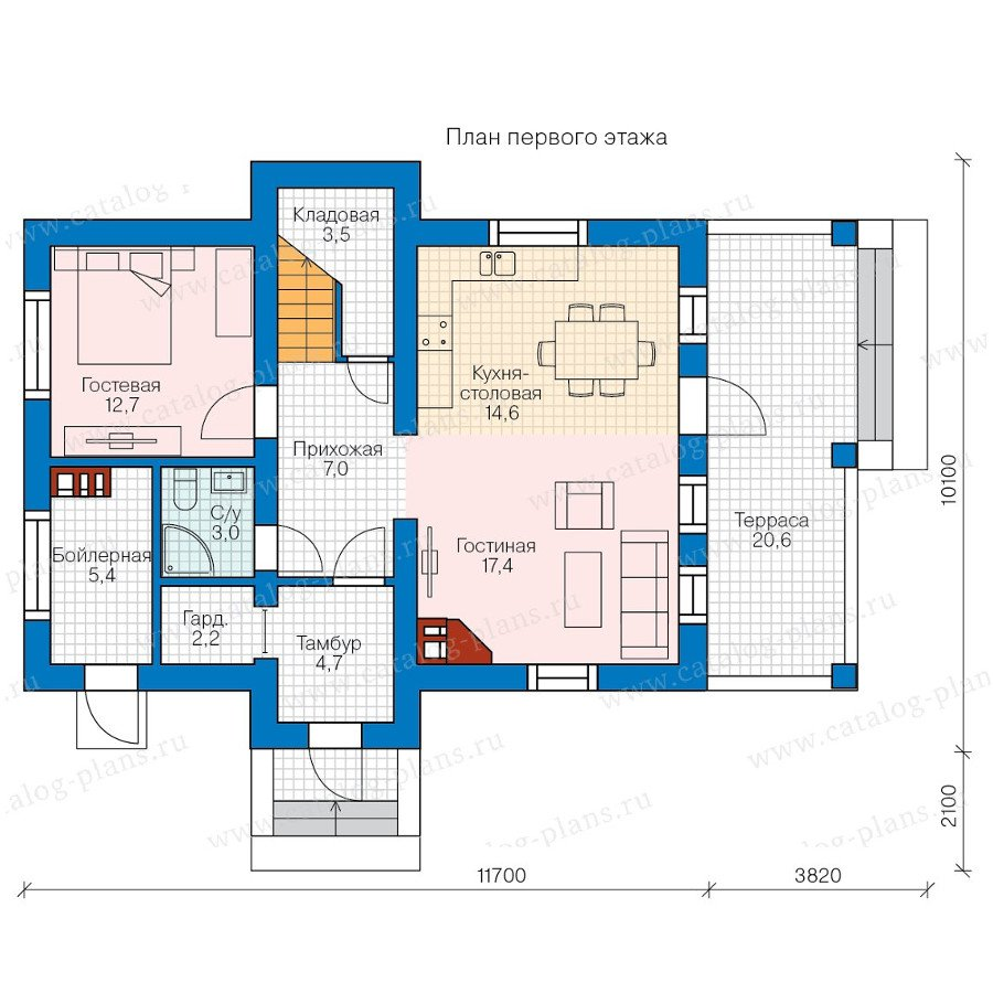 План 1-этажа проекта 80-15