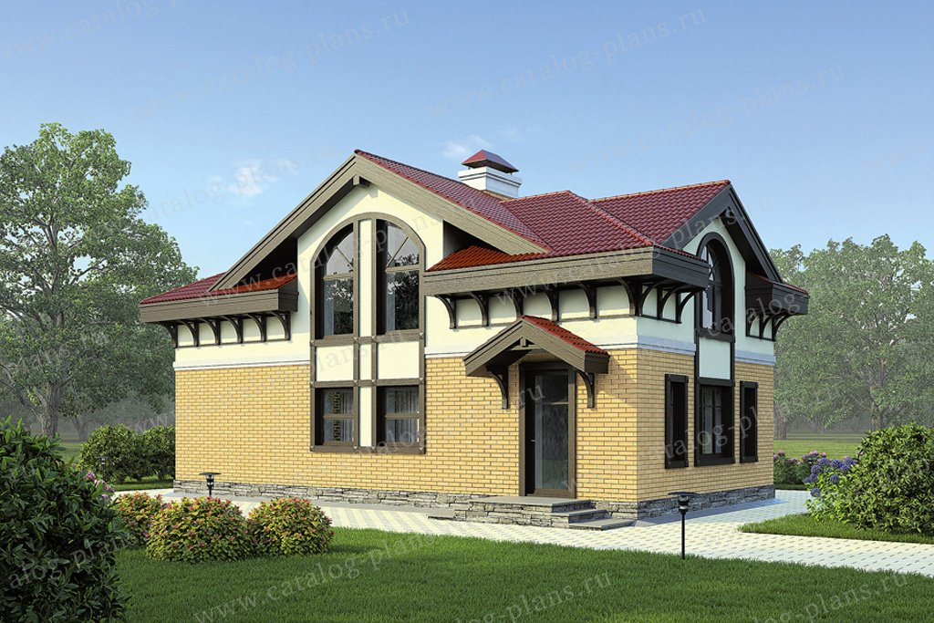 Проект жилой дом #59-01 материал - кирпич, стиль европейский