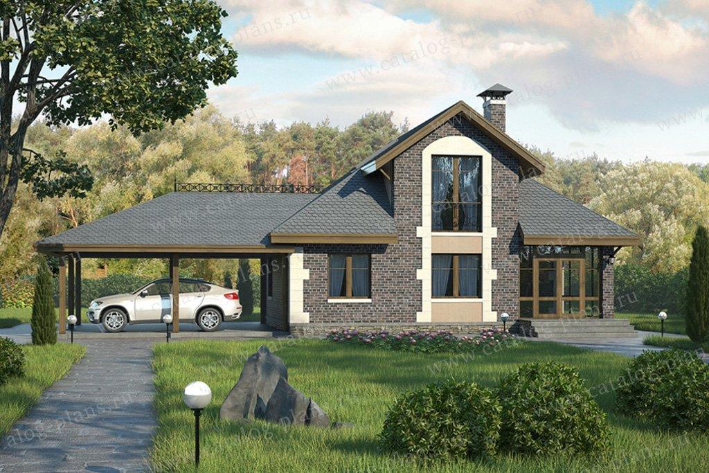 Проект жилой дом #59-07 материал - газобетон, стиль английский