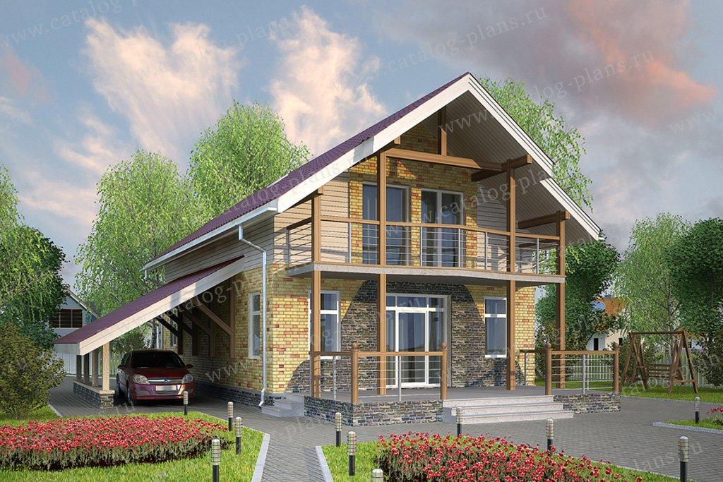 Проект жилой дом #59-40 материал - газобетон, стиль скандинавский