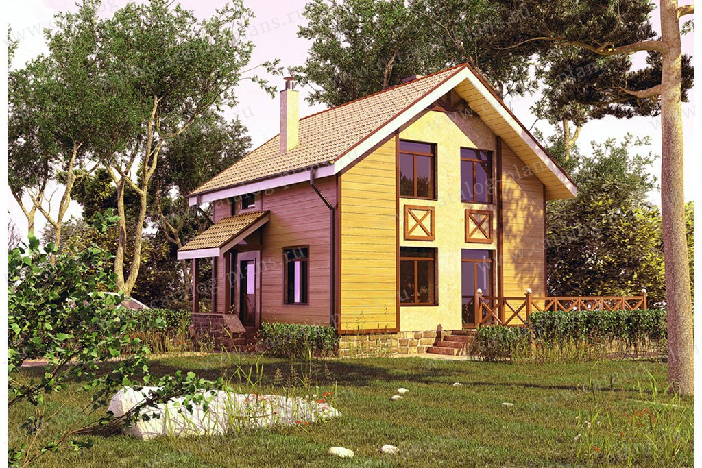 Проект жилой дом #59-38 материал - газобетон, стиль скандинавский