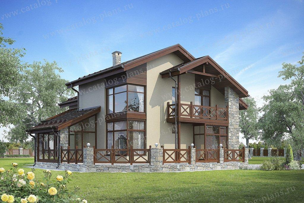 Проект жилой дом #59-70 материал - кирпич, стиль скандинавский