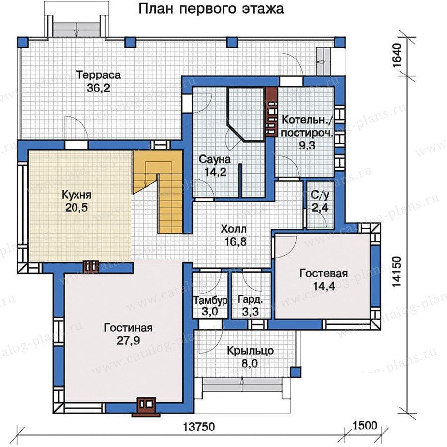 План 1-этажа проекта 57-21