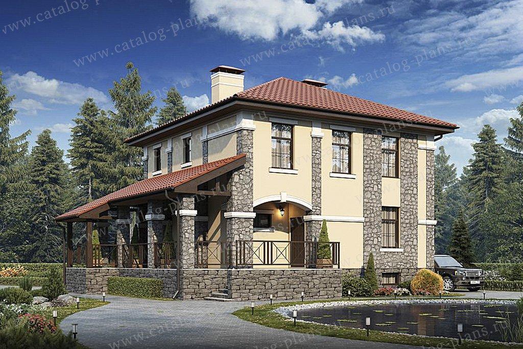 Проект жилой дом #57-32K материал - кирпич, стиль европейский