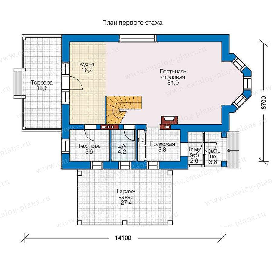 План 1-этажа проекта 48-02