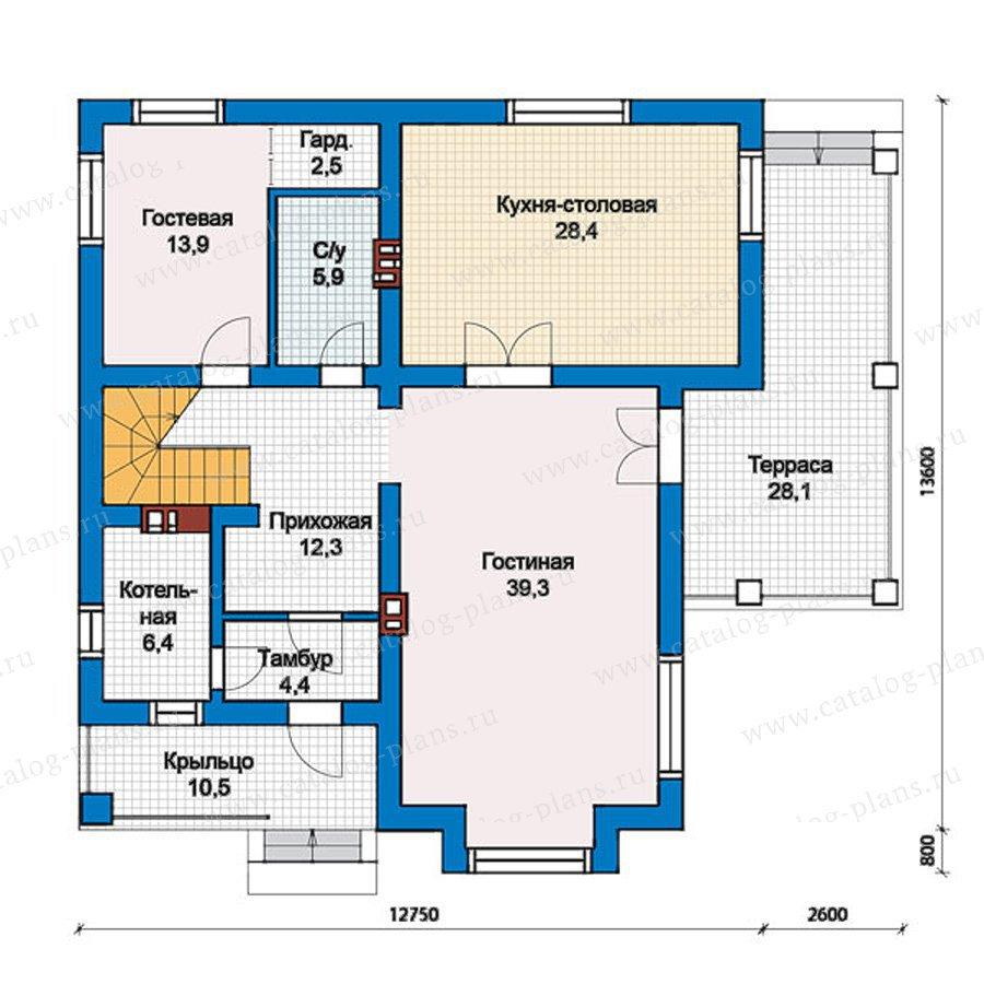 План 1-этажа проекта 57-39Кедрал