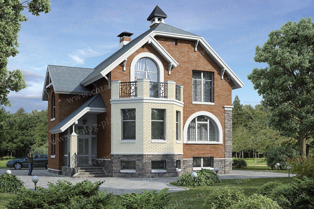 Проект жилой дом #37-68 материал - кирпич, стиль европейский