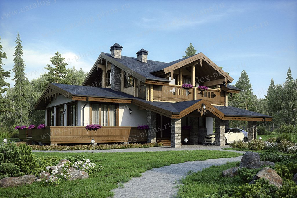 Проект жилой дом #38-74 материал - комбинированный, стиль шале