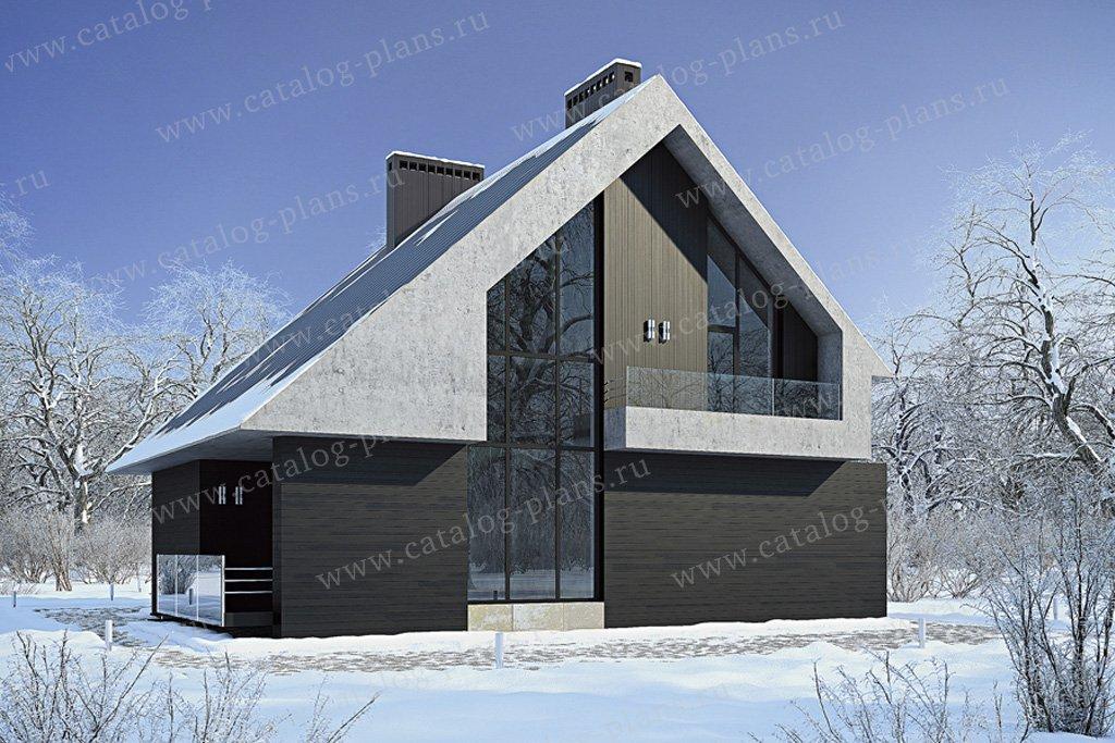 Проект жилой дом #39-15 материал - кирпич, стиль хай-тек
