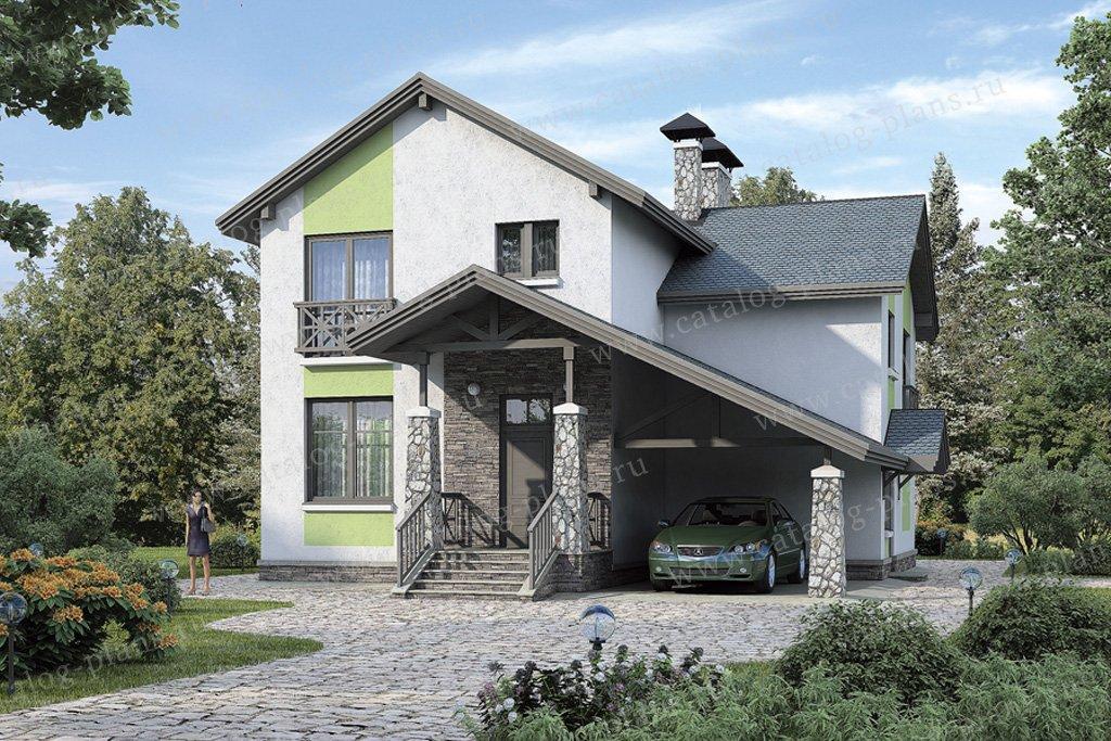 Проект жилой дом #37-69 материал - кирпич, стиль современный