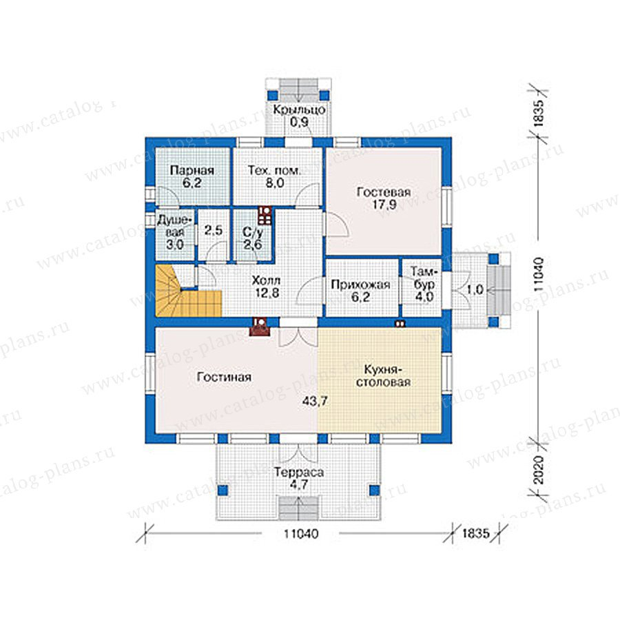 План 1-этажа проекта 38-94
