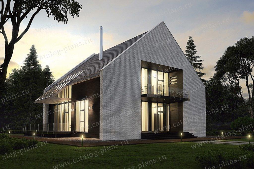 Проект жилой дом #39-03 материал - кирпич, стиль хай-тек