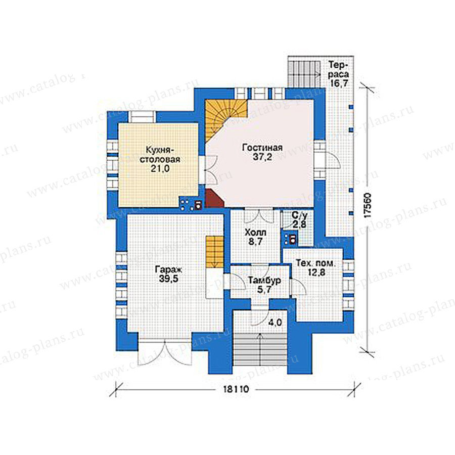 План 1-этажа проекта 39-08