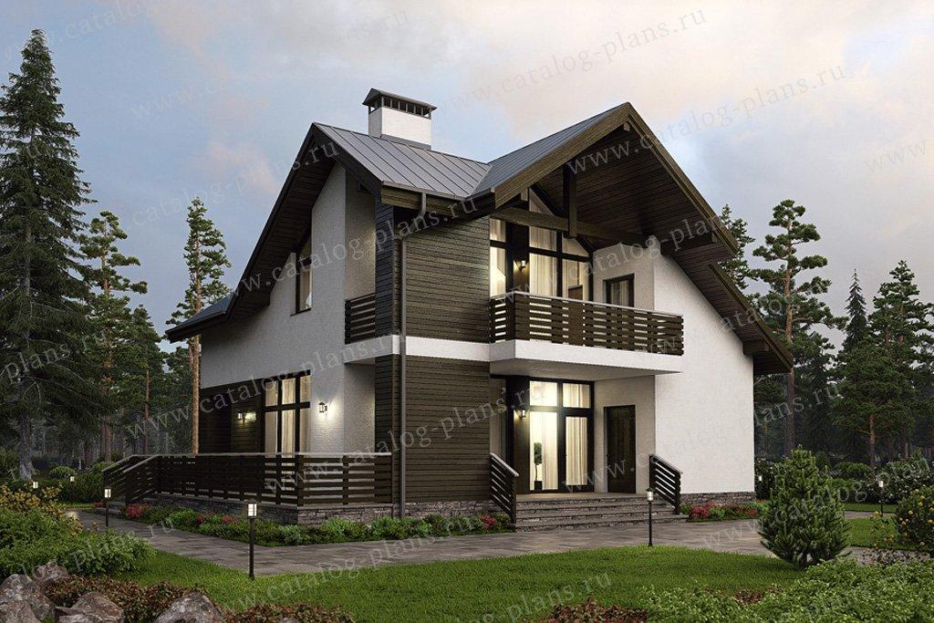 Проект жилой дом #38-88 материал - кирпич, стиль современный