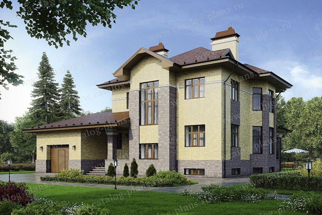 Проект жилой дом #37-99 материал - кирпич, стиль американский