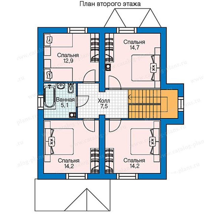 План 2-этажа проекта 60-75A