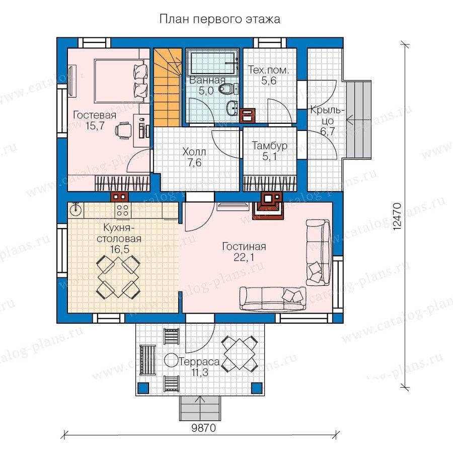 План 1-этажа проекта 60-74