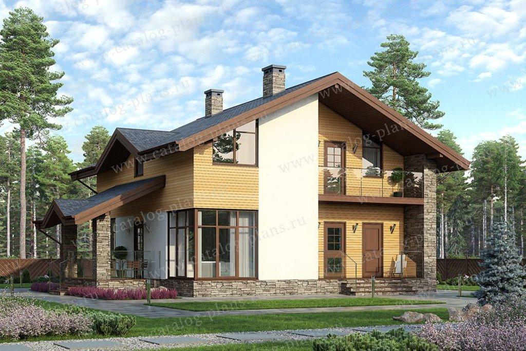 Проект жилой дом #60-74 материал - газобетон, стиль скандинавский