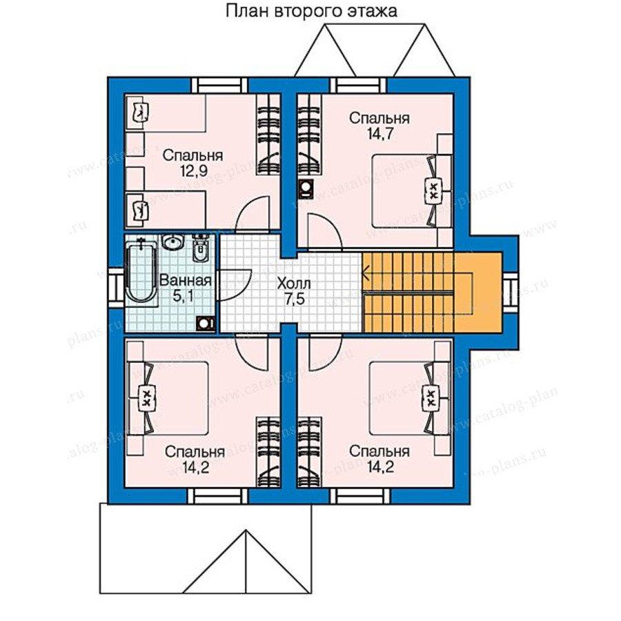 План 2-этажа проекта 60-75B
