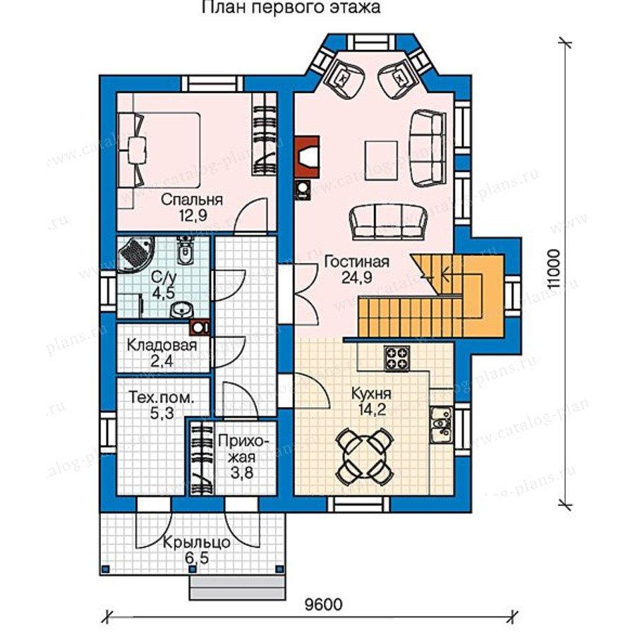 План 1-этажа проекта 60-75A