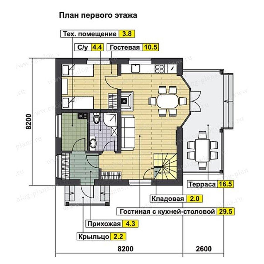 План 1-этажа проекта 70-70