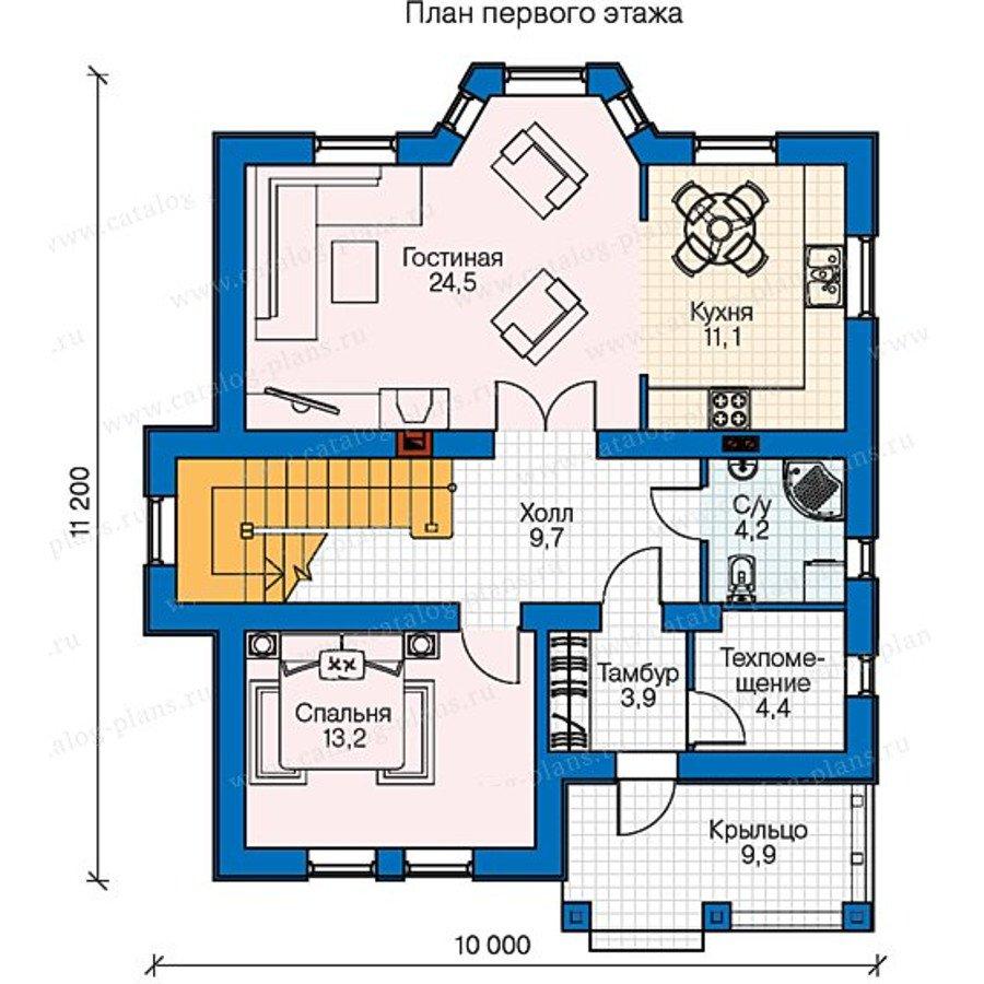 План 1-этажа проекта 60-55