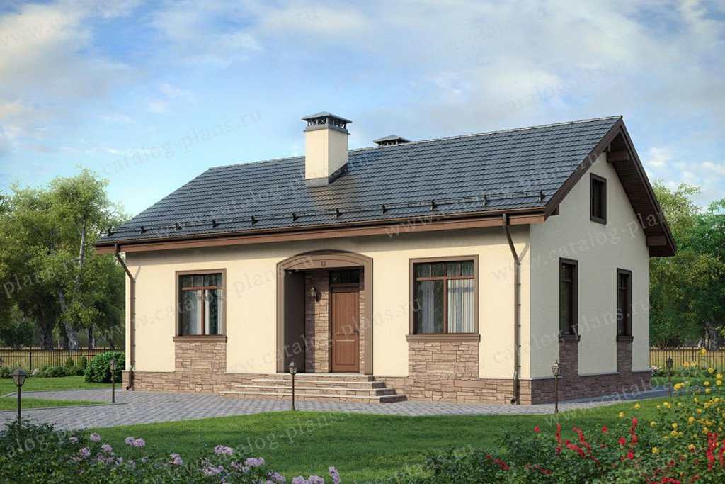 Проект жилой дом #60-53 материал - газобетон, стиль европейский