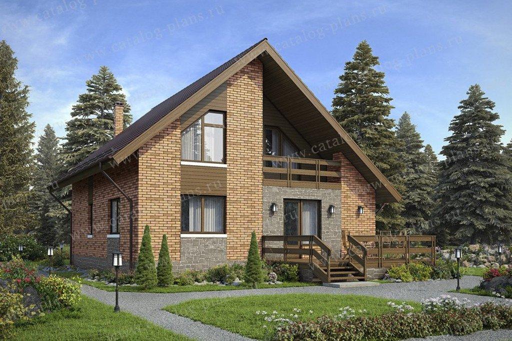 Проект жилой дом #59-97KL1 материал - кирпич, стиль скандинавский