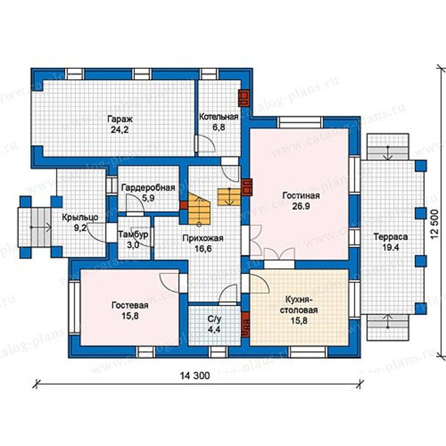 План 1-этажа проекта 59-93KL