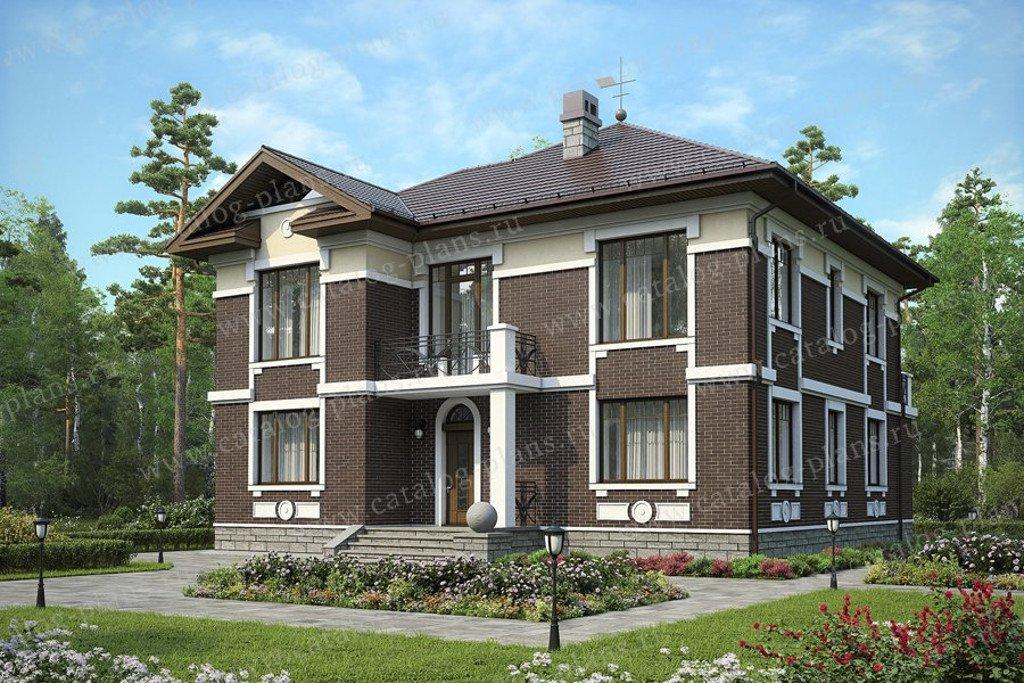Проект жилой дом #59-95KL материал - кирпич, стиль американский