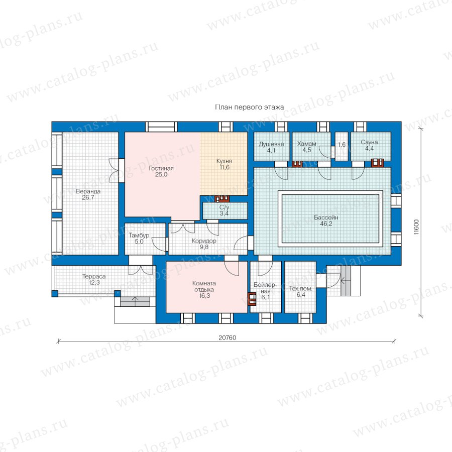 План 1-этажа проекта 90-22