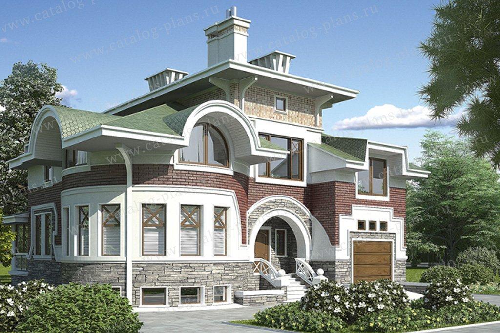 Проект жилой дом #36-17 материал - кирпич, стиль средиземный