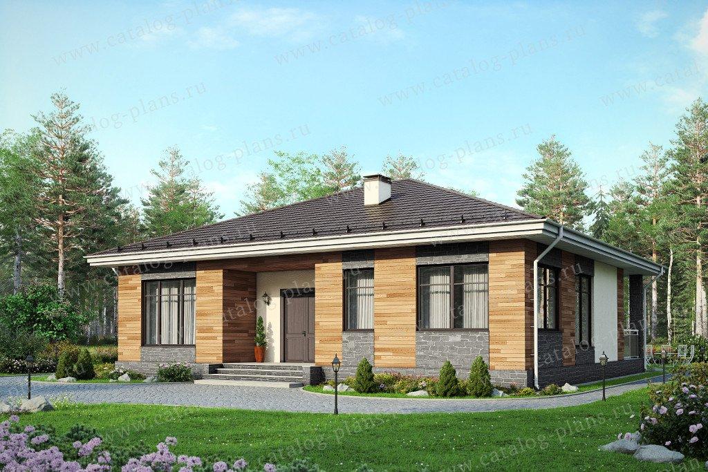 Проект жилой дом #60-51 материал - газобетон, стиль современный
