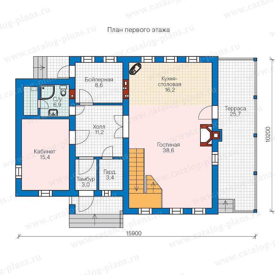 План 1-этажа проекта 60-48