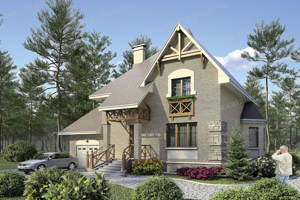 Проект жилой дом #36-29 материал - кирпич, стиль европейский
