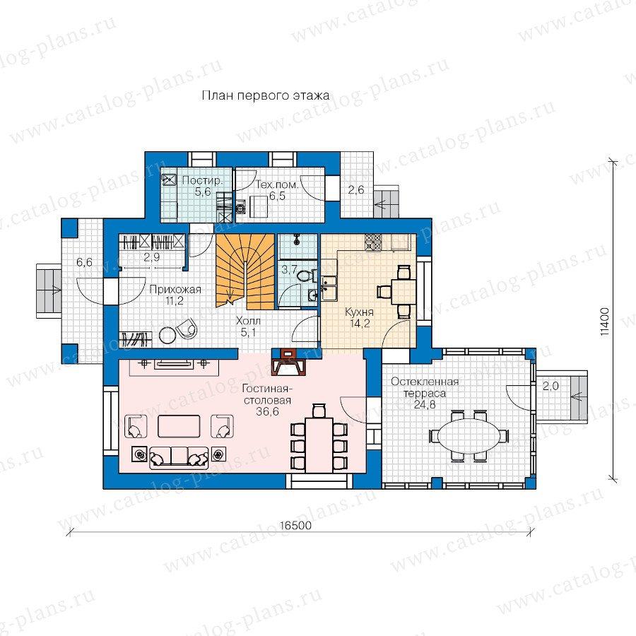 План 1-этажа проекта 60-45