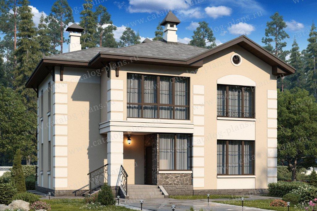Проект жилой дом #60-43 материал - газобетон, стиль европейский