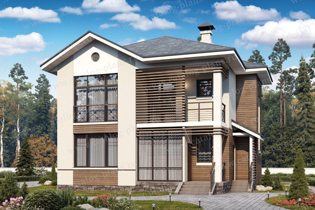 Проект жилой дом #60-38 материал - газобетон, стиль современный