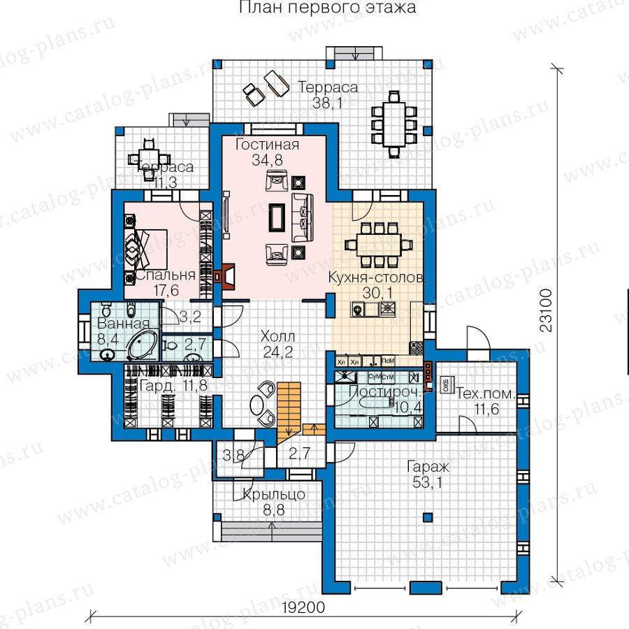 План 1-этажа проекта 60-40