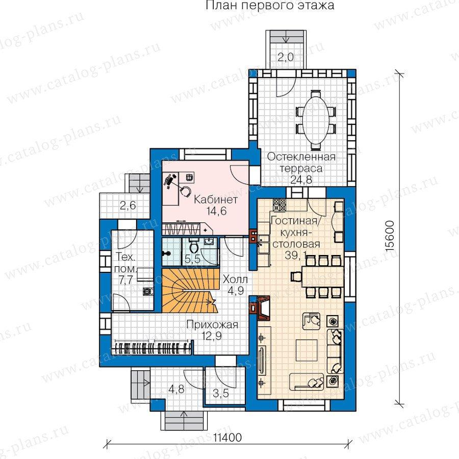 План 1-этажа проекта 60-43