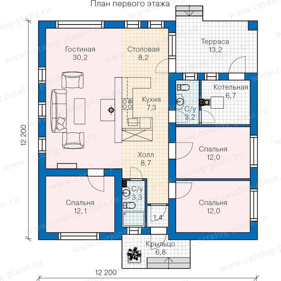 План 1-этажа проекта 60-27