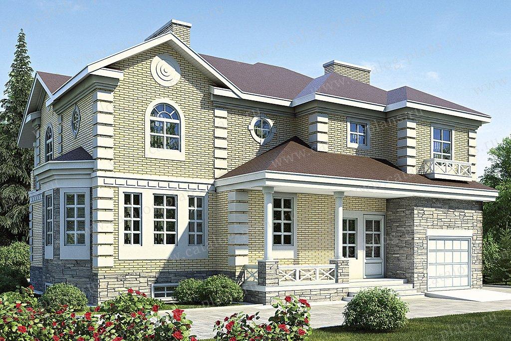 Проект жилой дом #35-89 материал - кирпич, стиль американский