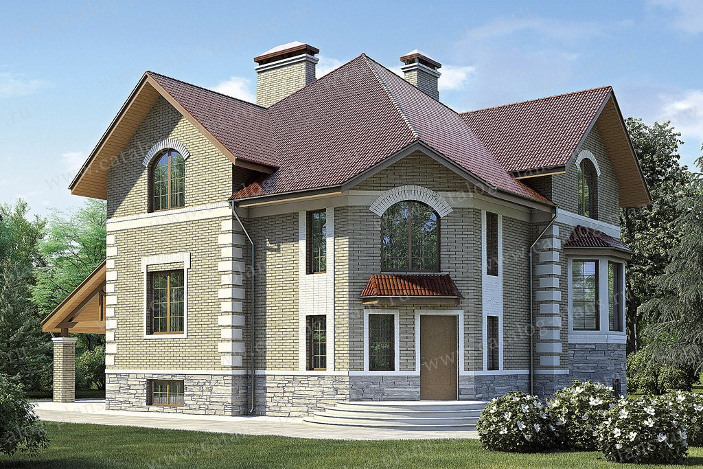 Проект жилой дом #35-86 материал - кирпич, стиль итальянский